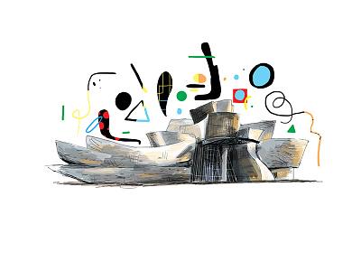 Guggenheim danbrown book editorial spain art museum drawing illustration