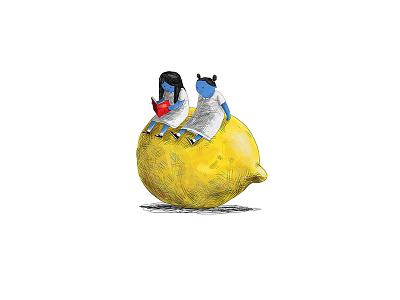A Library of Lemons vignette bookcover editorial girls lemon children book drawing illustration