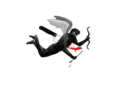 Love / Paranoia bow knife akifkaynar sabitfikir madness paranoia love bookcover book drawing illustration