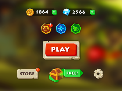 UI for runner game icons game design 2d interface ui