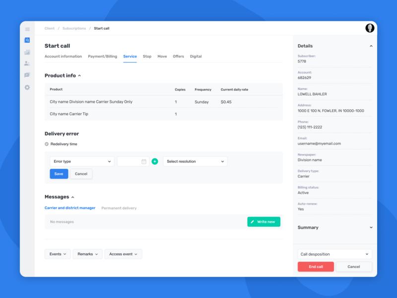 Subscriber Concierge — Subscriptions admin interface ux design ux ui design ui