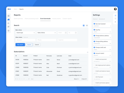 Subscriber Concierge Reports v.2.0 ux ui  ux ui interface