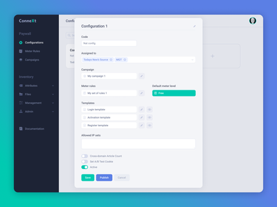 ConneXt Paywalling — Configuration paywall web ux ui interface