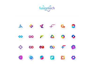 Fusiontech logo WIP vector icons logo design logotype logo