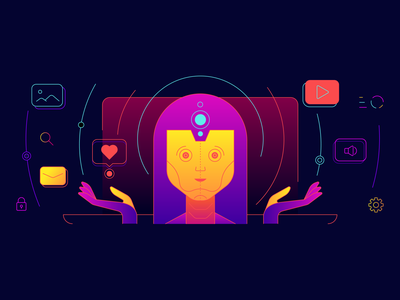 Machine learning illustrator 2d vector illustration