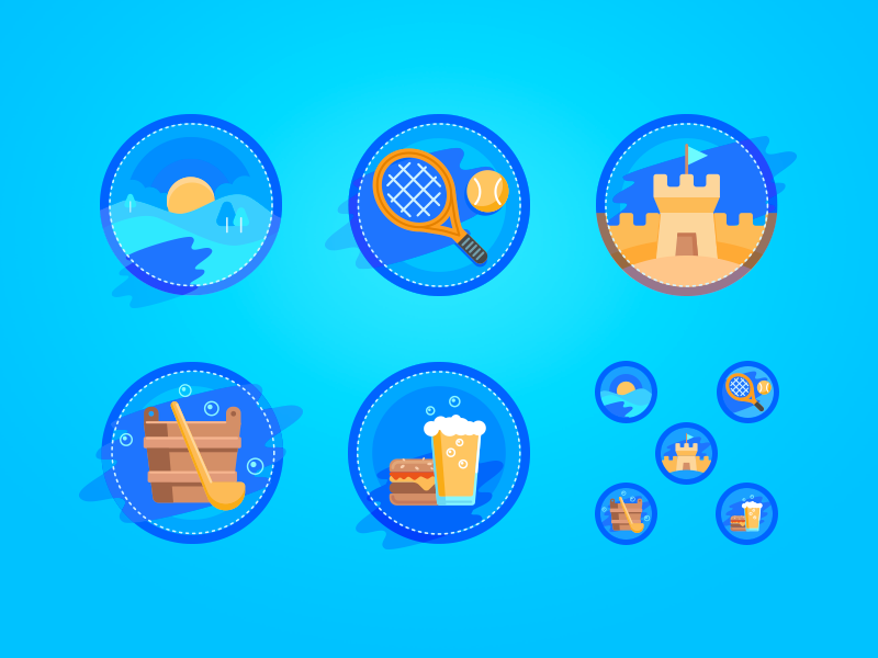 Izbushka vector illustration icons