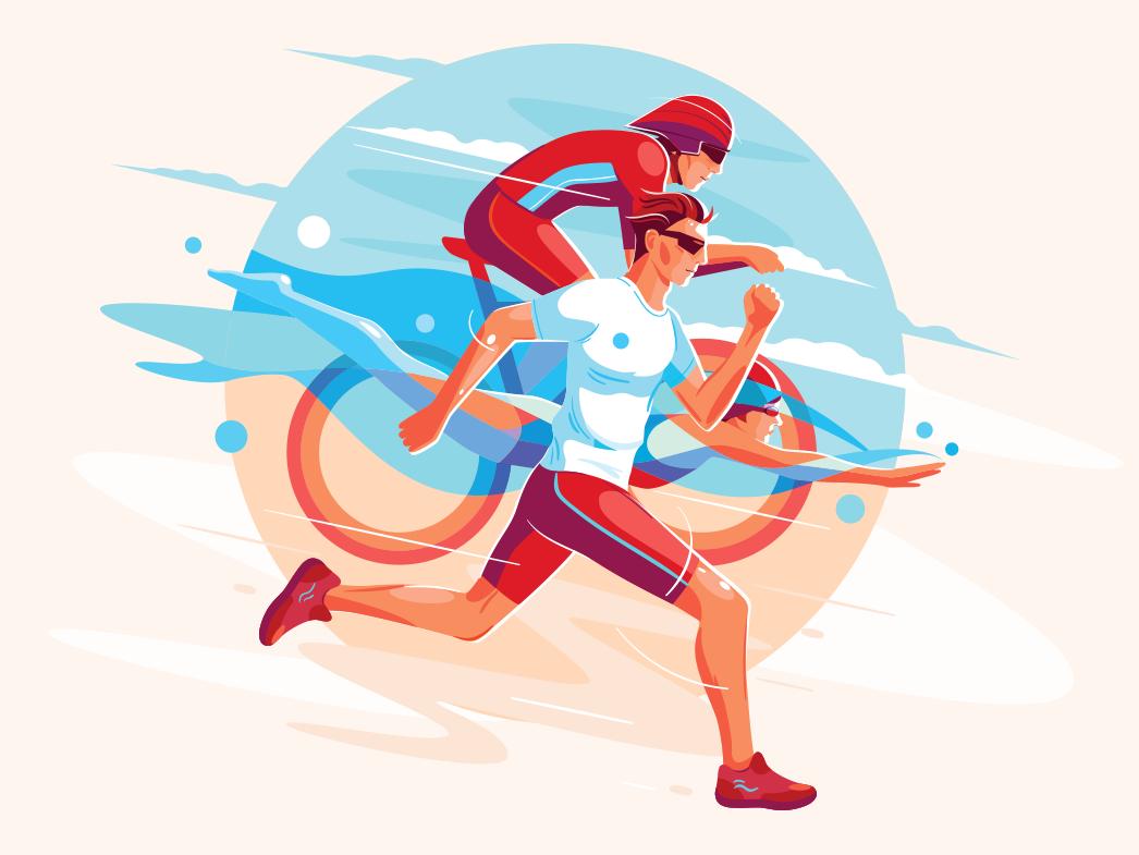 Triathlon illustration graphic design vector illustration