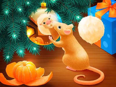 Merry Christmas and Happy New year 2020 digital art artwork illustration