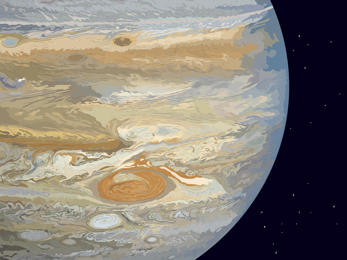 The Jupiter close up zones vector illustrator vectorart stroke stripes stars space solar system planetarium planet museum layers jupiter illustration drawing
