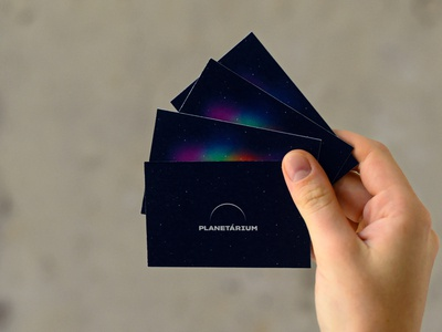 Business Cards from the identity of Planetarium Budapest