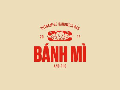 Logo design for Bánh Mì sandwich bar in Budapest exotic streetfood food pho baguette bread sandwiches sandwich vietnamese vietnam emblem logo banhmi