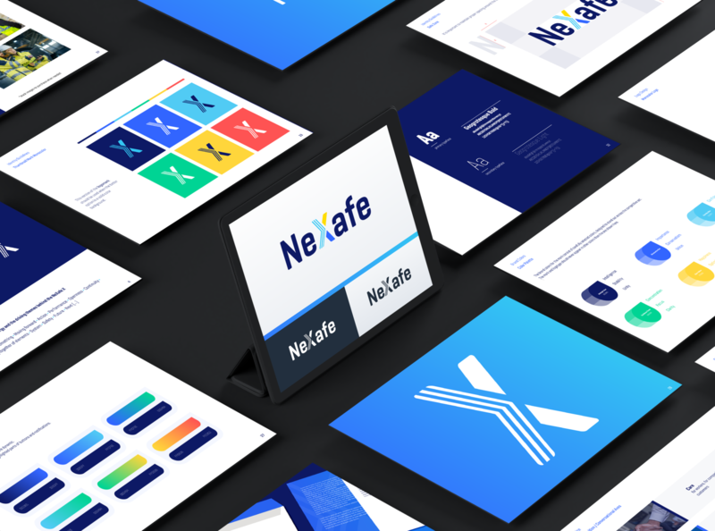NeXafe - Brand Identity & Guidelines Redesign friendly human centered blue creative design creative logo x brand voice logodesign logo safety corporate brand guidelines branding and identity brand design branding