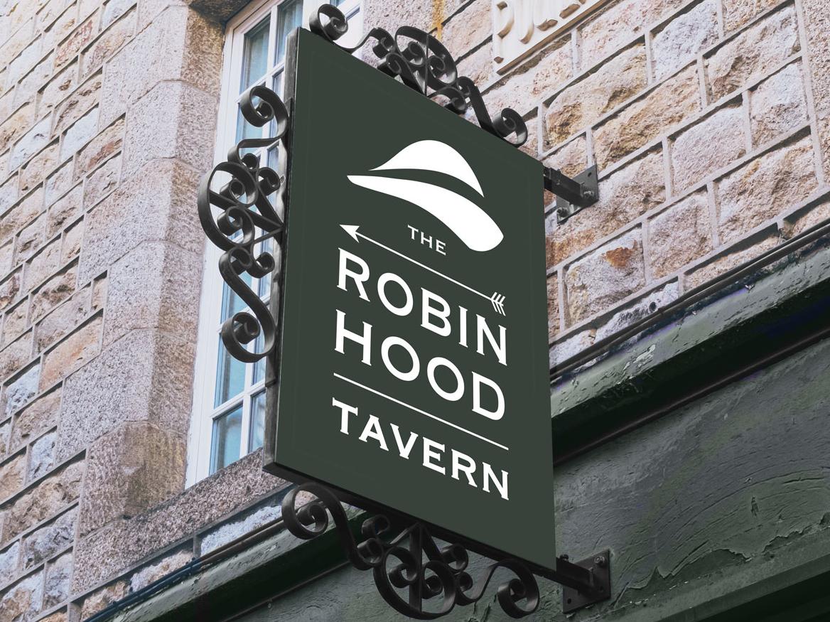 Robin Hood Tavern shop sign identity tavern bar pub branding graphic design logo