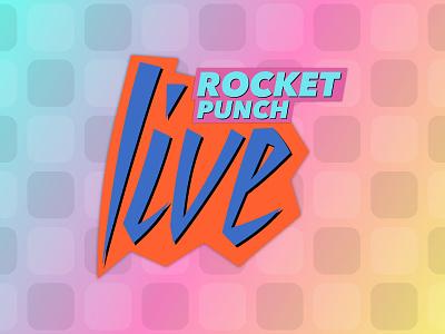 Rocket Punch Live gradient blue pink orange retro logo