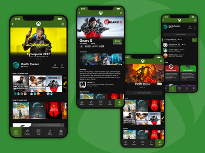 Concept Xbox Mobile App green ui design xbox gaming