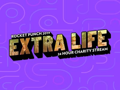 Extra Life 2019 Logo for Rocket Punch twitch logo retro gaming purple