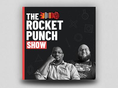 Rocket Punch Show Podcast Logo gaming logo black red podcast rocket punch