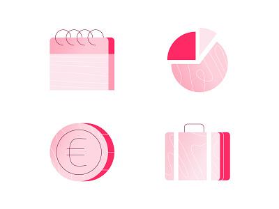 Icon style test euro event pink azulrecreo suitcase luggage money icon pie chart calendar