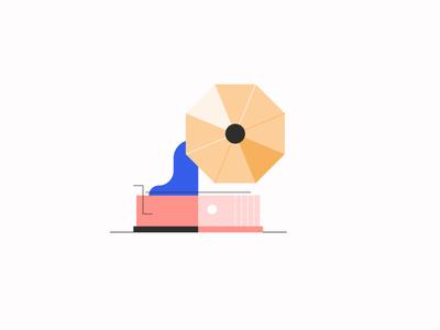 Gramophone azul recreo minimalism geometry shine design jazz color illustration music vector gramophone