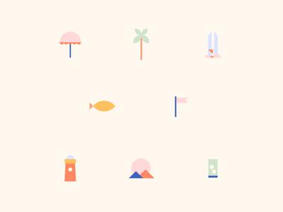 Summer icons I/II icon summer umbrella tree palm lighthouse glass surf sunset sun flag fish