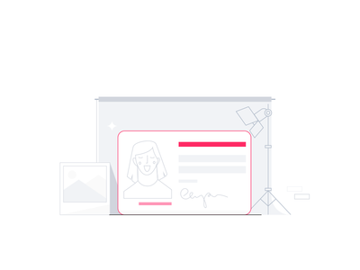 Remember to upload a photo of your ID card 📸 portrait girl license upload fintech app startup illustration card identity photo picture id card