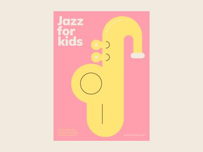 Jazz for kids azul recreo minimalism flat instrument vector saxophone classes school kids music jazz illustration poster