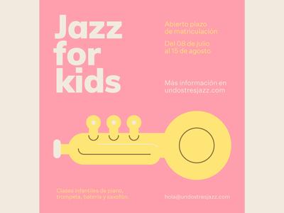 Jazz for kids vector music minimalism instrument school post jazz azul recreo flat illustration kids classes trumpet