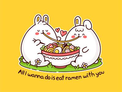 Ramen love card noodle chinese korean asian japan ramen udon animal bunnies romantic love food line kawaii cartoon cute concept character illustration