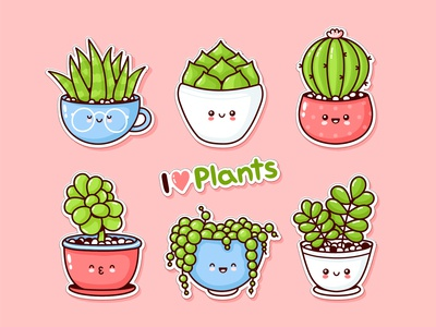 Plants stickers set