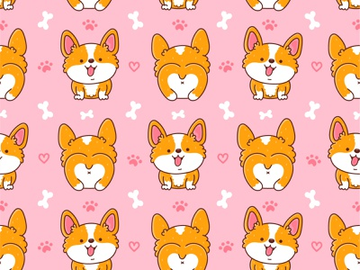 Corgi pattern corgis smile doggy corgi puppy dog pet animal seamless pattern print card happy design vector kawaii cartoon cute concept character illustration