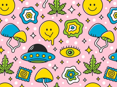 Trippy pattern smile ufo hippie eye magic mushrooms marijuana weed alien good vibes crazy acid trippy trip dope seamless pattern cartoon concept character illustration