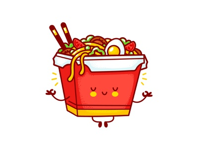 Wok Box Meditate calm meditation meditate delivery takeaway wok chinese thai asian box noodle logo happy food line kawaii cartoon cute character illustration