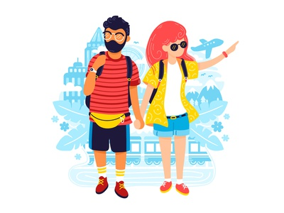 Traveling couple illustration art happy tour young family tourism world vacation tourist romantic people honeymoon road trip traveling travel cartoon concept character illustration