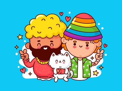 Cute gay couple people man pet cat romance couple love manga portrait lgbtq lgbt boys gay happy kawaii cute cartoon concept character illustration