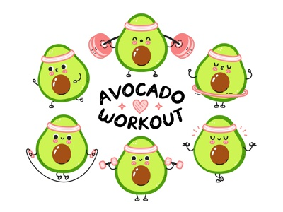 Avocado fitness yoga meditate dumbbell exercises vegan marathon run jugging bundle set workout gym sport doodle kawaii cute cartoon concept character illustration