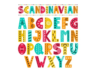 Scandinavian font psychedelic text cute art style lettering hand drawn design scandinavian font cartoon abc letter type alphabet doodle funny nursery vector illustration