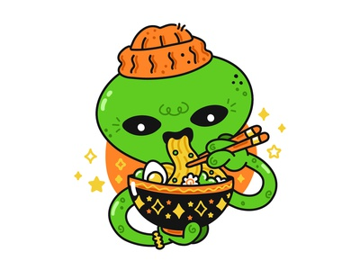 Alien and Ramen bowl print logo poster soup dinner mascot korean japanese chinese asian noodle ramen eat food kawaii cute cartoon character illustration