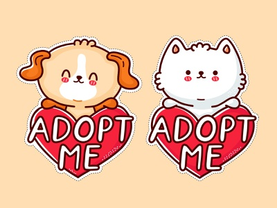Adopt me stickers gift friend love heart stickers kawaii illustration character help cartoon adoption cute adopt pet animal homeless cat kitty dog puppy