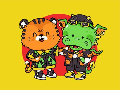 Cool shirts buddies baby korean manga japan asian cat tiger dragon fashion trendy cool buddies best friends happy kawaii cute cartoon character shirts illustration