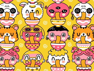 Noodles chinese japanese korean udon asian food face cartoon wok bowl noodle noodles eat pattern seamless line kawaii cute character illustration