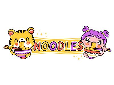 Noodles love logo breakfast eat love chopsticks wok bowl ramen girl tiger korean japanese asian food asian happy kawaii cute cartoon character illustration