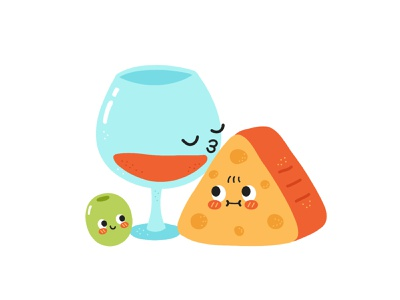 Wine and cheese dinner love kiss olive board french appetizer red drink alcohol italian gourmet cheese wine food kawaii cute cartoon character illustration