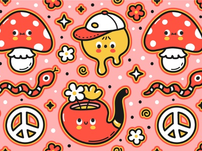 Hippie vibes psychedelic good vibes snake peace smile hippie flower amanita trippy trip magic mushrooms acid dope happy kawaii cute cartoon character illustration