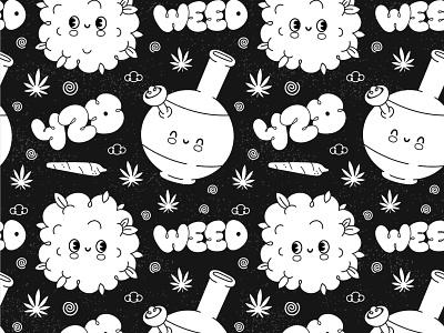 Vintage cartoon 420 pattern seamless smoking bong disney retro vintage high pot marijuana green cannabis weed 420 happy kawaii cute cartoon character illustration