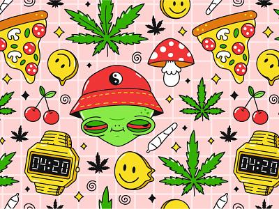 4:20 pattern pizza smiley face dope good vibes high cannabis marijuana smoking weed 4:20 420 alien print pattern seamless kawaii cute cartoon character illustration