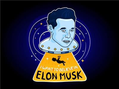 I want to believe in Elon Musk science spaceship space person cartoon character illustration