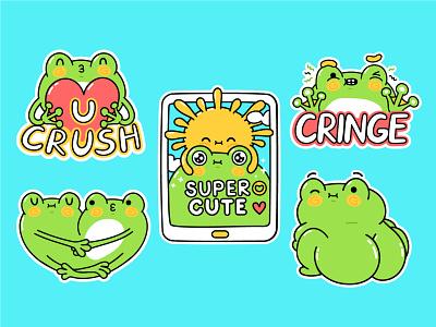 Froggy sticker set cellphone love crush comic teenage tiktok screen smartphone toad frog baby kids collection stickers set kawaii cute cartoon character illustration