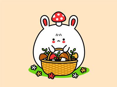 Mushrooming fun funny head happy wicker baby animal rabbit bunny amanita forest brown porcini mushroom mushrooming kawaii cute cartoon character illustration