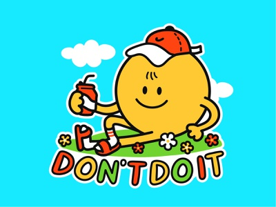 Don't do it nike doodle comic face smiley smile relax chilling chill lazy motivational slogan poster print t-shirt kawaii cute cartoon character illustration