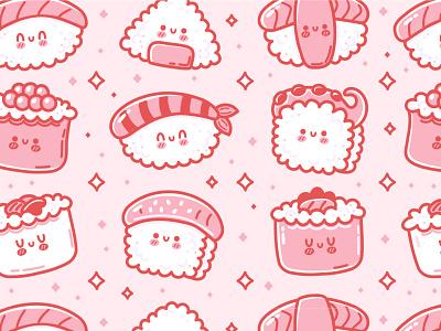 Sushi pattern salmon roll emoji face food kawaii cute cartoon character illustration
